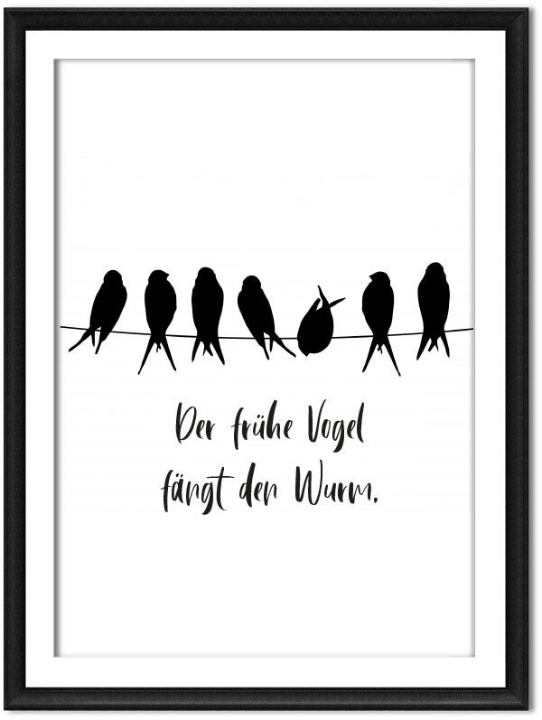 Printable frueher Vogel faengt Wurm